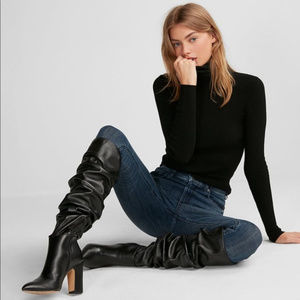 Black Leather Slouch Boots by Express sz 7 NEW